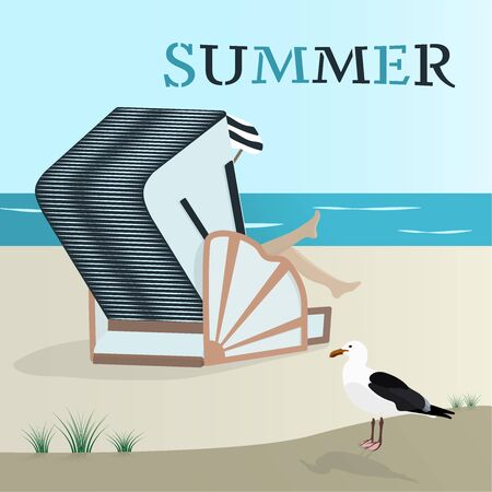 Summertime of north sea at the beach with wicker beach chair and sea gull vector illustration Ilustração