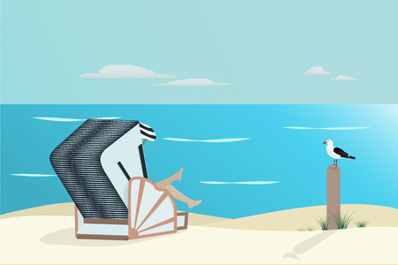 Summertime. North Sea at the beach with wicker beach chair and sea gull.