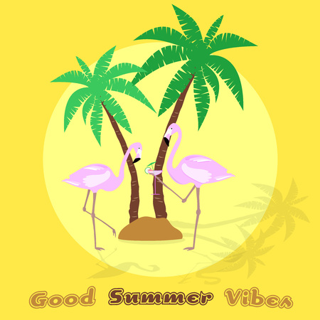 Summertime good vibes only with flamingos, palms, and a cocktail in trendy pineapple colors.