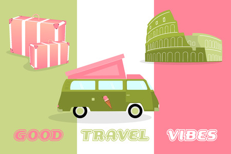 Summertime good vibes with camping van and Colosseum in watermelon or italian colors. 向量圖像