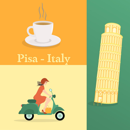 Leaning tower of Pisa, cup of coffee on scooter in Italian colors vector illustration
