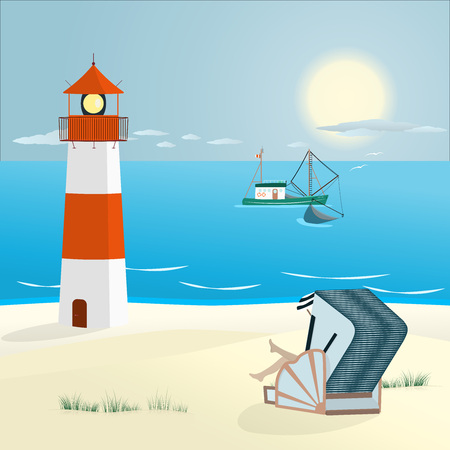 Summer landscape. Wicker beach chair and typical fishing boat. Zdjęcie Seryjne - 90057969