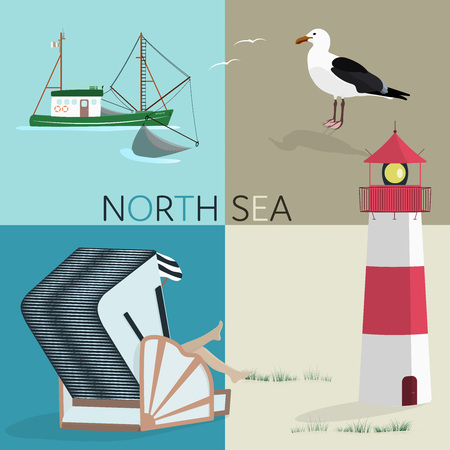 Summertime north sea at the beach with lighthouse, fishing boat, roofed wicker beach chair, and sea gull.