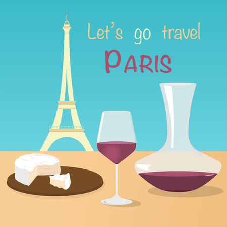 Lets go to Paris. Eiffel tower, camembert and a glass of red wine in pastel colors.