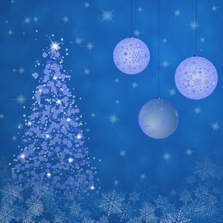 Christmas time. Christmas trees with bowls and snow flakes in blue winter landscape.