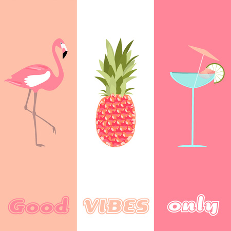 Summertime. Good vibes only with cocktail, flamingo and pineapple in watermelon colors. Illustration
