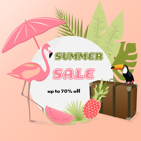 Summer sale. Sign with Toucan, Flamingo, case, palms, pineapple and beach accessories in watermelon colors Illustration
