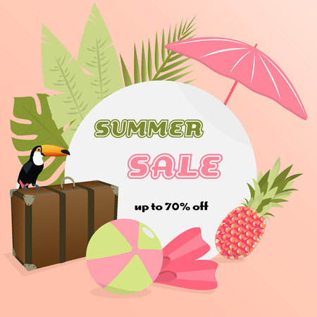 Summer sale. Sign with Toucan, palms, pineapple and beach accessories in watermelon colors