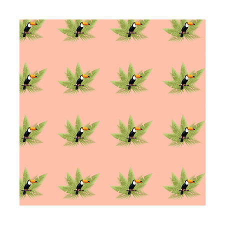 Toucan bird pattern. Pattern with toucan and palms in watermelon colors.