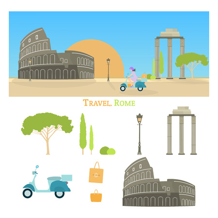 Travel Rome. Woman driving on a scooter carrying shopping bags. Cityscape of Rome with Colosseum and sunrise.