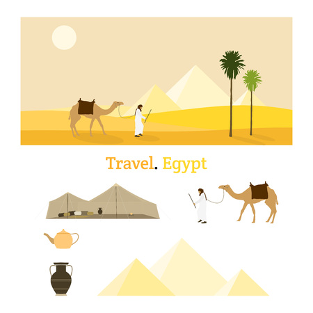 Travel Egypt. A bedouin and his camel in a yellow desert landscape with pyramids in the background