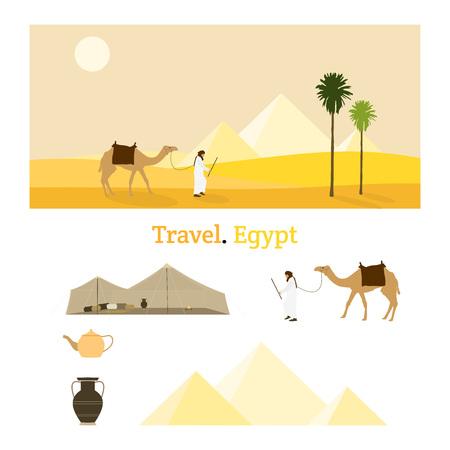 Viaggiare in Egitto. Un beduino e il suo cammello in un paesaggio desertico giallo con piramidi sullo sfondo