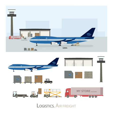Logistics and Warehousing. Airport with air freighter and some specialized vehicles for chartering. Vettoriali