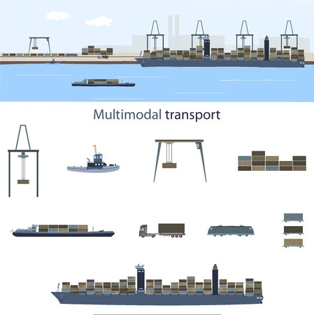 Multimodal transport and logistics. Container vessel, freight train and truck with a lot of containers in a sea harbor for multimodal transport. Illustration