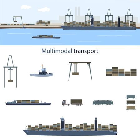 Transporte multimodal y logística. Portacontenedores, tren de carga y camión con una gran cantidad de contenedores en un puerto marítimo para el transporte multimodal.