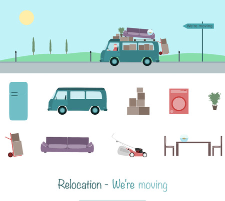 Relocation. Mini van charged with boxes and couch. Sign: We're moving. Illustration