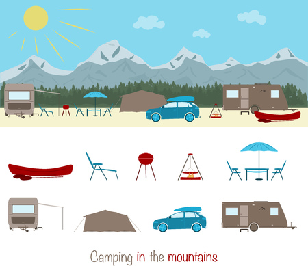 Summertime. Camping in the mountains with caravan, tent and canoe. Stock Illustratie