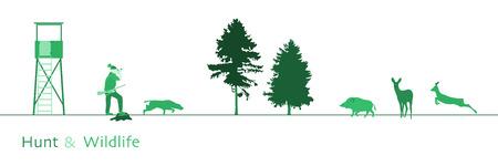 Jacht. Jager met hond, zwijn, herten en bomen. Groene schaduw.