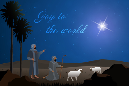 Christmas time. The shepherds in the fields with sheeps. Text: Joy to the world.