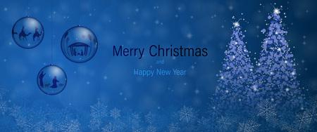 クリスマスの時期。クリスマスは、キリスト降誕のシーンとクリスマスの風景の中の三人の王ボウルします。 写真素材