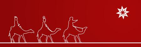 Christmas time. The three kings follow the star to Bethlehem. Text: Follow the star.