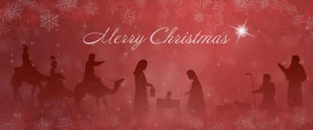 Czas świąt. Szopka z Maryją, Józefem, Dzieciątkiem Jezus, pasterzami i trzema królami w świątecznym pejzażu.