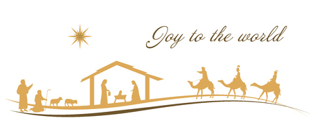 Christmas time. Nativity scene with Mary, Joseph, baby Jesus, shepherds and three kings. 向量圖像