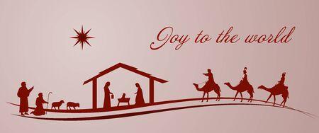Christmas time. Nativity scene with Mary, Joseph, baby Jesus, shepherds and three kings. Illustration