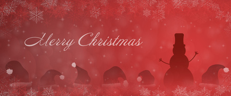 Christmas time. Snowman with christmas hats in winter landscape. Text: Merry Christmas