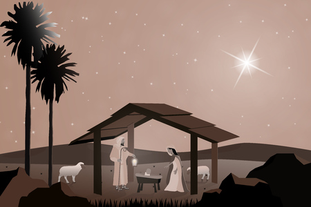 Christmas time. Nativity scene with Mary, Joseph and baby Jesus in Christmas landscape. Vettoriali