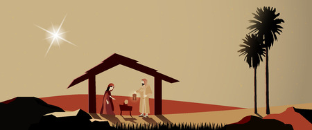 Christmas time. Nativity scene with Mary, Joseph and baby Jesus in Christmas landscape. Vectores
