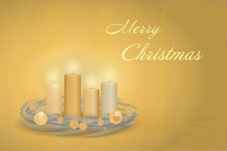 Christmas time. An Advent wreath with four burning candles. Text: Merry Christmas