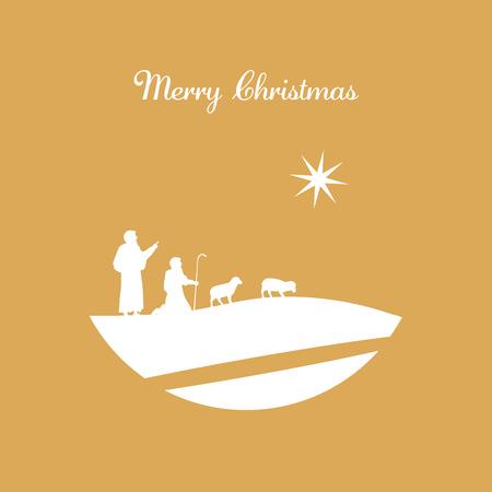 Christmas time. The three kings follow the star to Bethlehem. Ilustração
