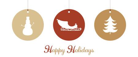Christmas time. Christmas symbols with sleigh, tree and snowman. Illusztráció