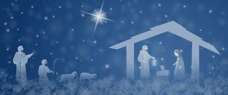 Christmas time. Nativity scene with Mary, Joseph, baby Jesus and the shepherd in Christmas landscape.