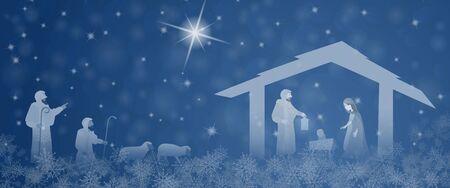 Tiempo de Navidad. Escena de la Natividad con María, José, el niño Jesús y el pastor en el paisaje de Navidad. Ilustración de vector