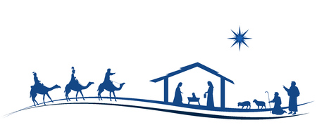 Christmas time. Nativity scene with Mary, Joseph, baby Jesus, shepherds and three kings. Illustration