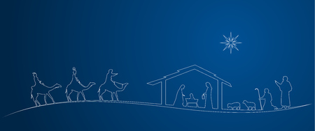 Christmas time. Nativity scene with Mary, Joseph, baby Jesus, shepherds and three kings.  イラスト・ベクター素材