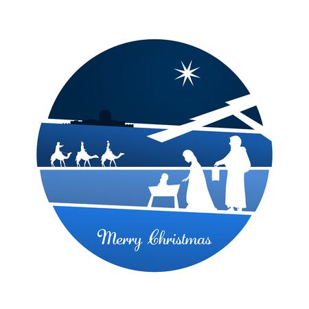 Nativity scene with Mary, Joseph, baby Jesus and three kings.