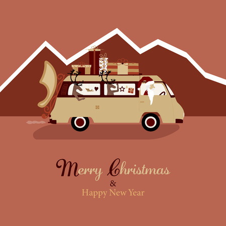 Christmas time. Santa Claus in  van with gifts on the roof. Text : Merry Christmas