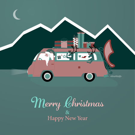 Santa Claus in tiny van with gifts on the roof in winter landscape. Illustration