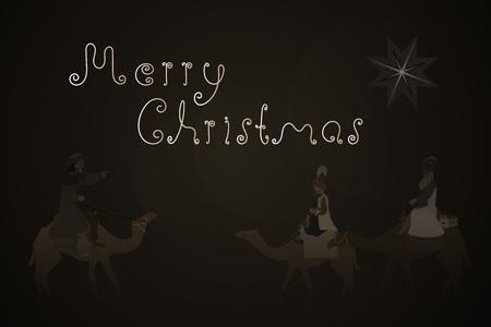 Christmas time. The three kings follow the star to Bethlehem. Stock Illustratie