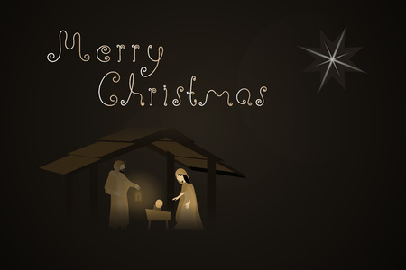 Christmas time. Nativity scene with Mary, Joseph and baby Jesus in Christmas landscape. Illustration