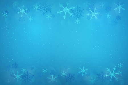 Wintertime. Winter landscape with snowflakes and snow in blue colors.