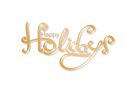 Happy Holidays. Lettering in golden colors with shadow. Text: Happy Holidays Illustration