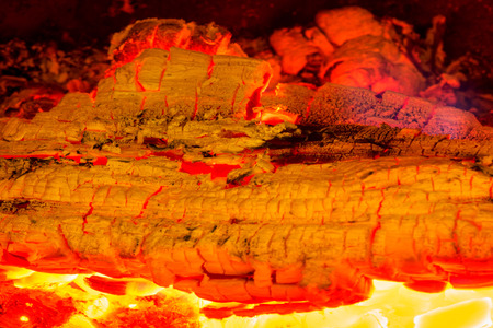 Wintertime. Macro shot of a fireplace with embers.