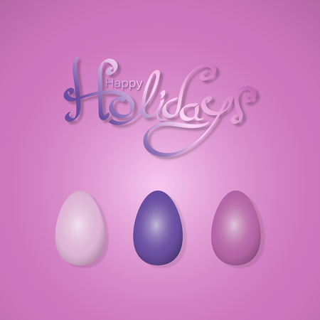 Easter eggs in different purple colors with text: Happy Holidays vector illustration