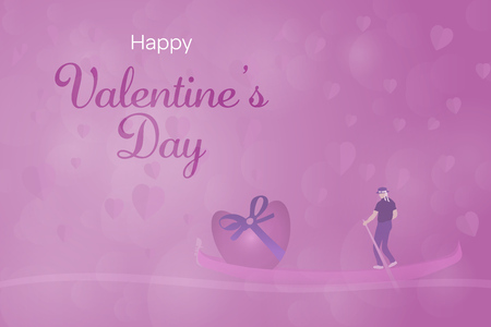 Valentine's day. Background with hearts and man in gondola transporting big heart. Text: Happy Valentine's Day.