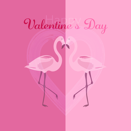 Valentine's day. Two flamingos with heart in watercolor style and text: Happy Valentine's Day