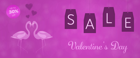 Valentine's day - Sale. Flamingos in love and background with hearts. Text: Valentine's Day - up to 30% off Иллюстрация